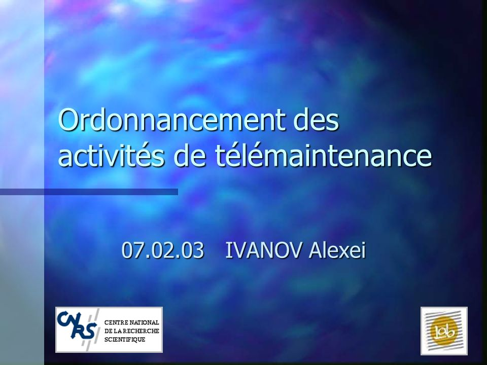 12 07.02.03LILLE BERMUDES Ordonnancement des activités de télémaintenance Ordonnancement: Bibliographie FRY T.D., ARMSTRONG R.D & BLACKSTONE J.H., Minimizing weighted absolute deviation in single machine scheduling, 1987 Une procédure de recherche de solution, basée sur la recherche locale par une procédure de recherche de solutions voisines GAREY M., TARJAN R., WILFONG G., One-processor scheduling with symmetric earliness and tardiness penalties, 1988 Une procédure dinsertion de temps dattente entre les tâches pour une séquence de tâches donnée.