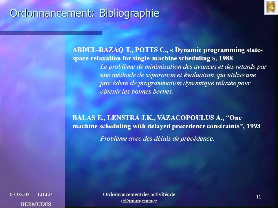 11 07.02.03LILLE BERMUDES Ordonnancement des activités de télémaintenance Ordonnancement: Bibliographie ABDUL-RAZAQ T., POTTS C., « Dynamic programmin
