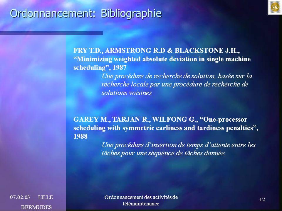 12 07.02.03LILLE BERMUDES Ordonnancement des activités de télémaintenance Ordonnancement: Bibliographie FRY T.D., ARMSTRONG R.D & BLACKSTONE J.H., Min