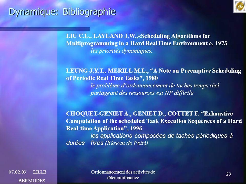 23 07.02.03LILLE BERMUDES Ordonnancement des activités de télémaintenance Dynamique: Bibliographie LIU C.L., LAYLAND J.W.,«Scheduling Algorithms for M