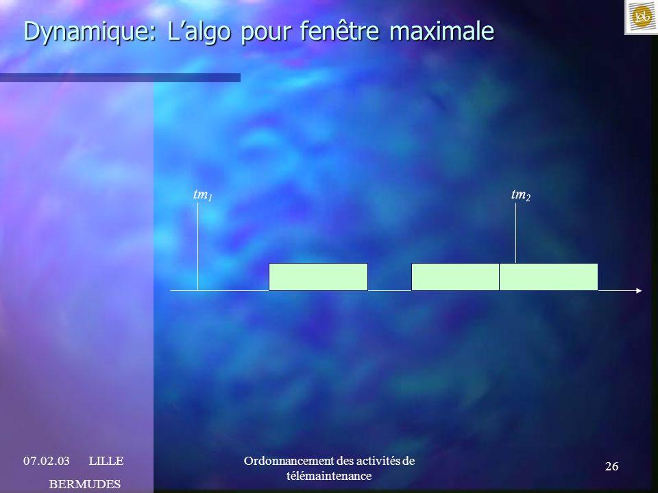 26 07.02.03LILLE BERMUDES Ordonnancement des activités de télémaintenance Dynamique: Lalgo pour fenêtre maximale tm 1 tm 2