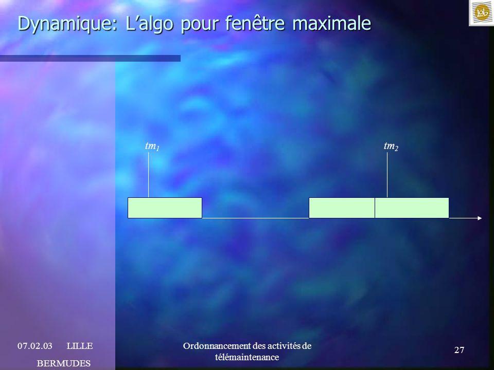 27 07.02.03LILLE BERMUDES Ordonnancement des activités de télémaintenance Dynamique: Lalgo pour fenêtre maximale tm 1 tm 2
