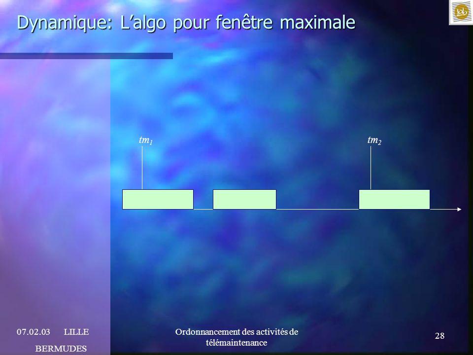 28 07.02.03LILLE BERMUDES Ordonnancement des activités de télémaintenance Dynamique: Lalgo pour fenêtre maximale tm 1 tm 2