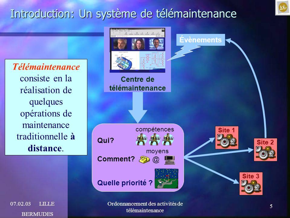 5 07.02.03LILLE BERMUDES Ordonnancement des activités de télémaintenance Introduction: Un système de télémaintenance Qui? compétences Comment? moyens