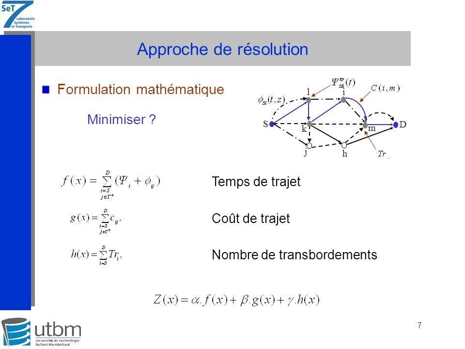 8 Approche de résolution Formulation mathématique, et Tel que :,.