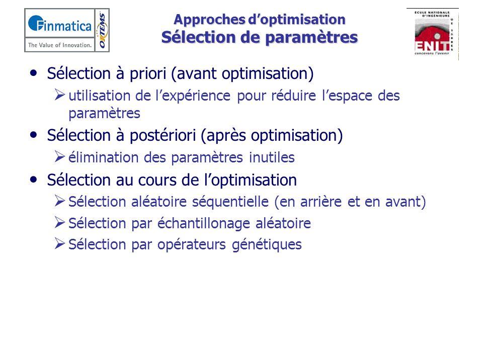 Approches doptimisation Sélection de paramètres Sélection à priori (avant optimisation) utilisation de lexpérience pour réduire lespace des paramètres