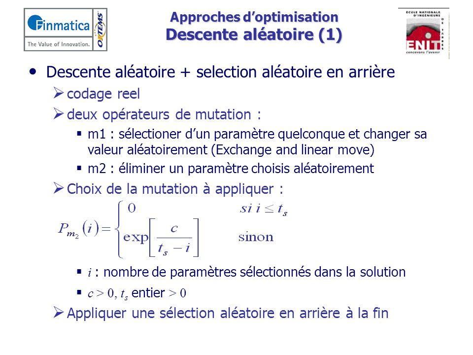Approches doptimisation Descente aléatoire (1) Descente aléatoire + selection aléatoire en arrière codage reel deux opérateurs de mutation : m1 : séle