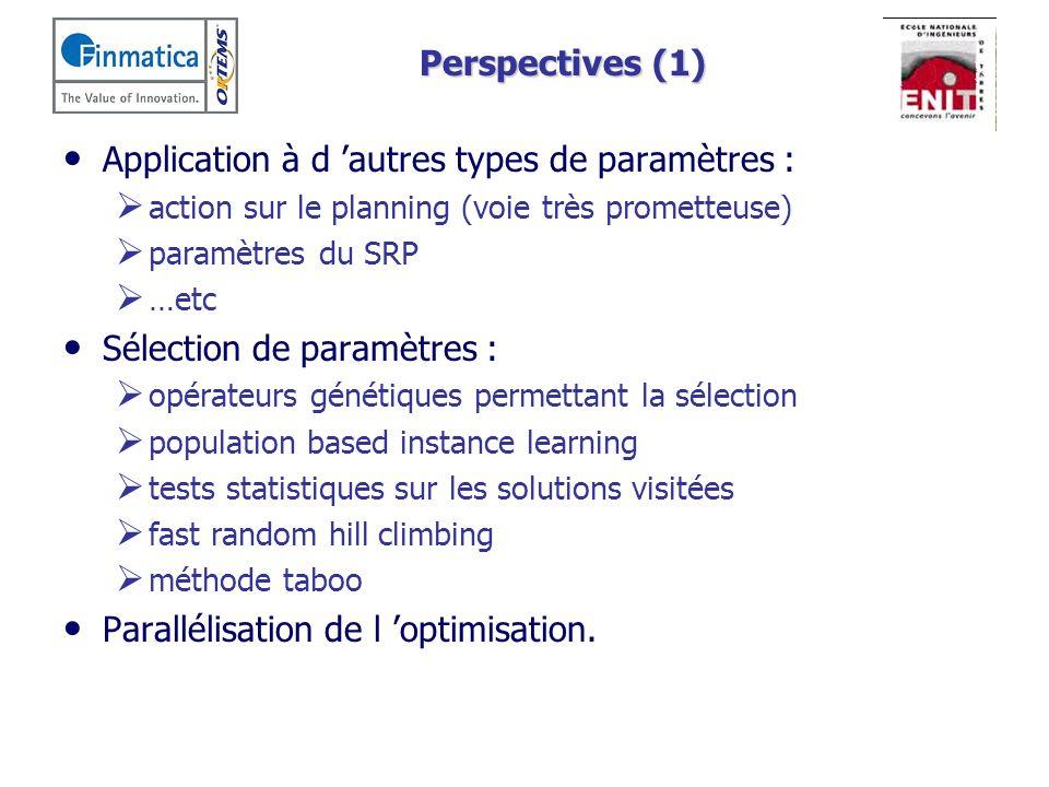 Perspectives (1) Application à d autres types de paramètres : action sur le planning (voie très prometteuse) paramètres du SRP …etc Sélection de param
