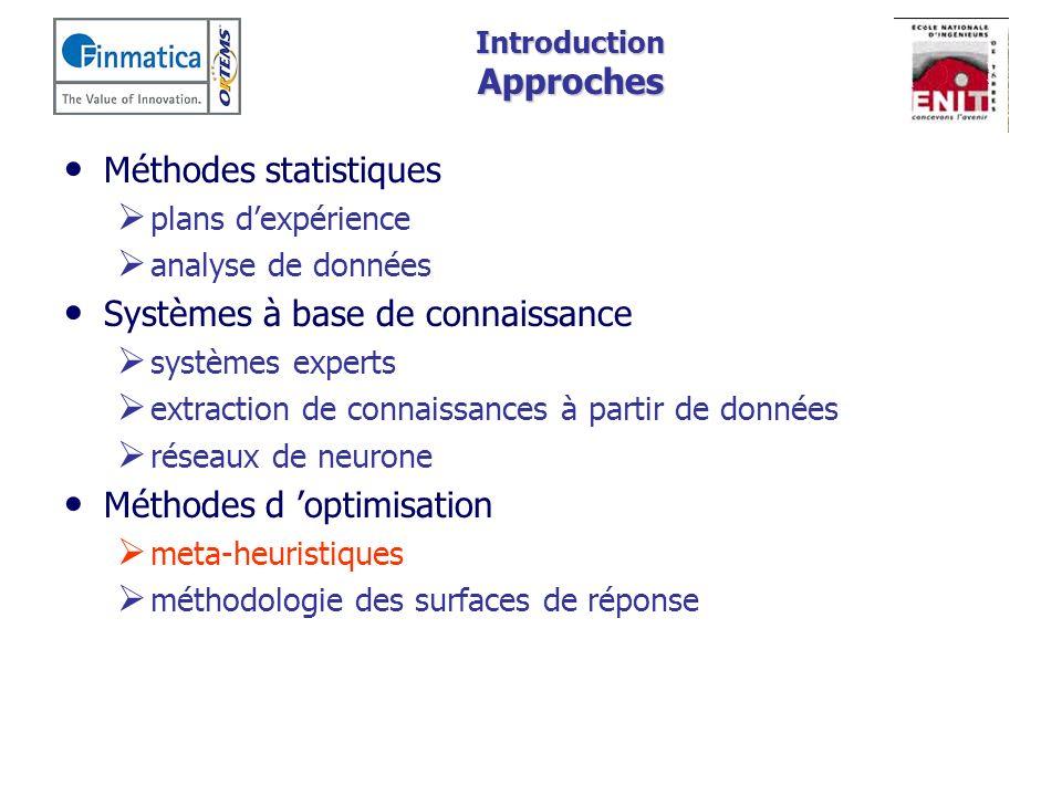 Introduction Approches Méthodes statistiques plans dexpérience analyse de données Systèmes à base de connaissance systèmes experts extraction de conna