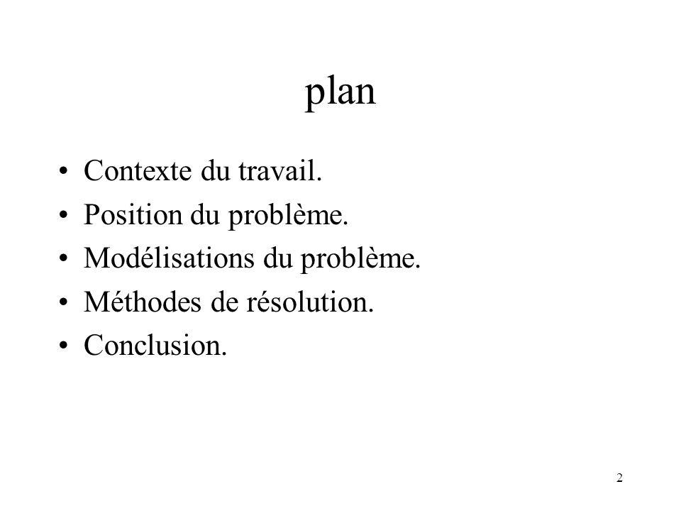 2 plan Contexte du travail. Position du problème. Modélisations du problème. Méthodes de résolution. Conclusion.