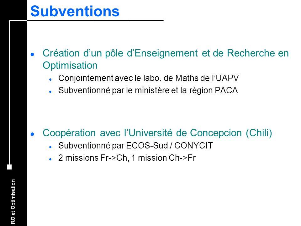 RO et Optimisation Subventions l Création dun pôle dEnseignement et de Recherche en Optimisation l Conjointement avec le labo. de Maths de lUAPV l Sub