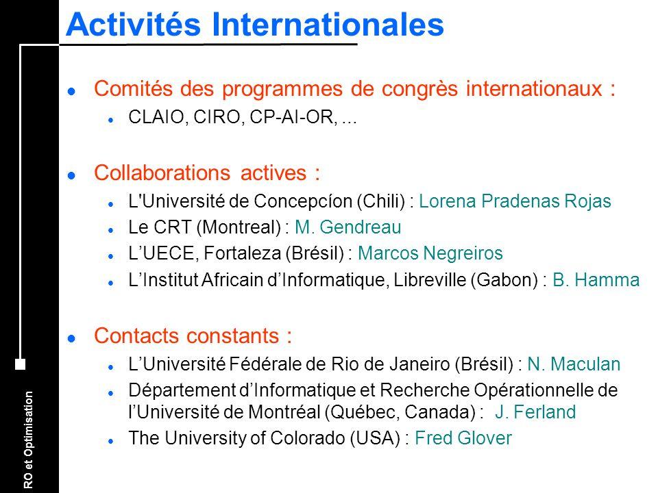 RO et Optimisation Activités Internationales l Comités des programmes de congrès internationaux : l CLAIO, CIRO, CP-AI-OR,... l Collaborations actives
