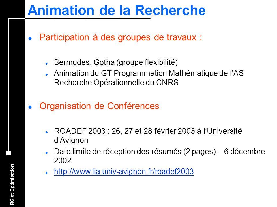 RO et Optimisation Animation de la Recherche l Participation à des groupes de travaux : l Bermudes, Gotha (groupe flexibilité) l Animation du GT Progr