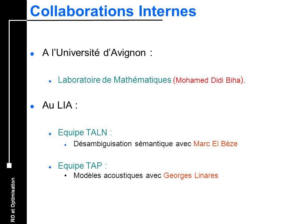 RO et Optimisation Collaborations Internes l A lUniversité dAvignon : l Laboratoire de Mathématiques ( Mohamed Didi Biha ). l Au LIA : l Equipe TALN :