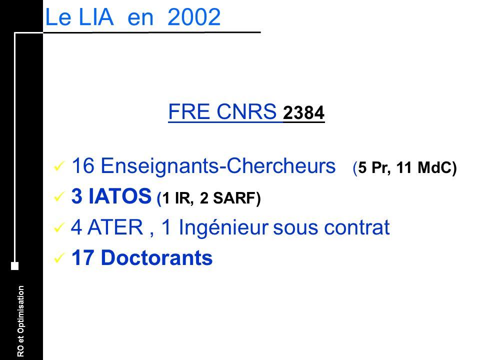 RO et Optimisation FRE CNRS 2384 16 Enseignants-Chercheurs (5 Pr, 11 MdC) 3 IATOS (1 IR, 2 SARF) 4 ATER, 1 Ingénieur sous contrat 17 Doctorants Le LIA