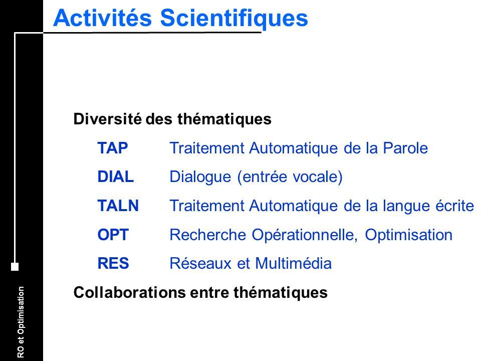 RO et Optimisation Activités Scientifiques Diversité des thématiques TAPTraitement Automatique de la Parole DIALDialogue (entrée vocale) TALNTraitemen