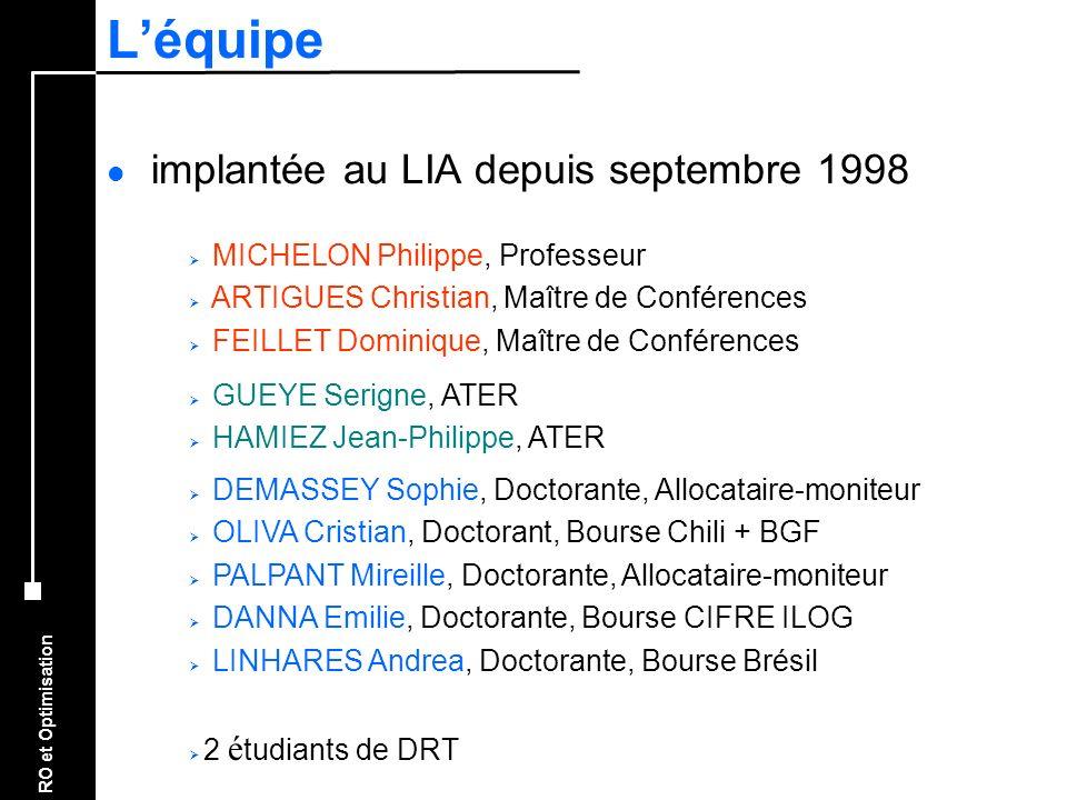RO et Optimisation Léquipe l implantée au LIA depuis septembre 1998 MICHELON Philippe, Professeur ARTIGUES Christian, Maître de Conférences FEILLET Do