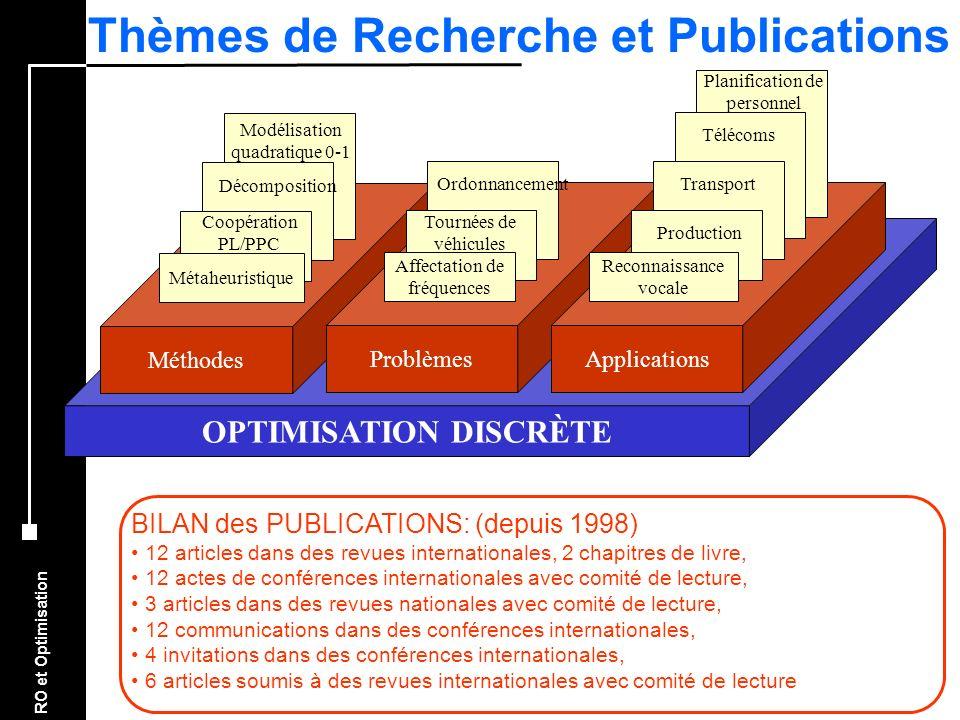 RO et Optimisation OPTIMISATION DISCRÈTE Méthodes Métaheuristique Coopération PL/PPC Décomposition Modélisation quadratique 0-1 Problèmes Affectation