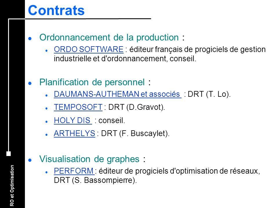 RO et Optimisation Contrats l Ordonnancement de la production : l ORDO SOFTWARE : éditeur français de progiciels de gestion industrielle et d'ordonnan