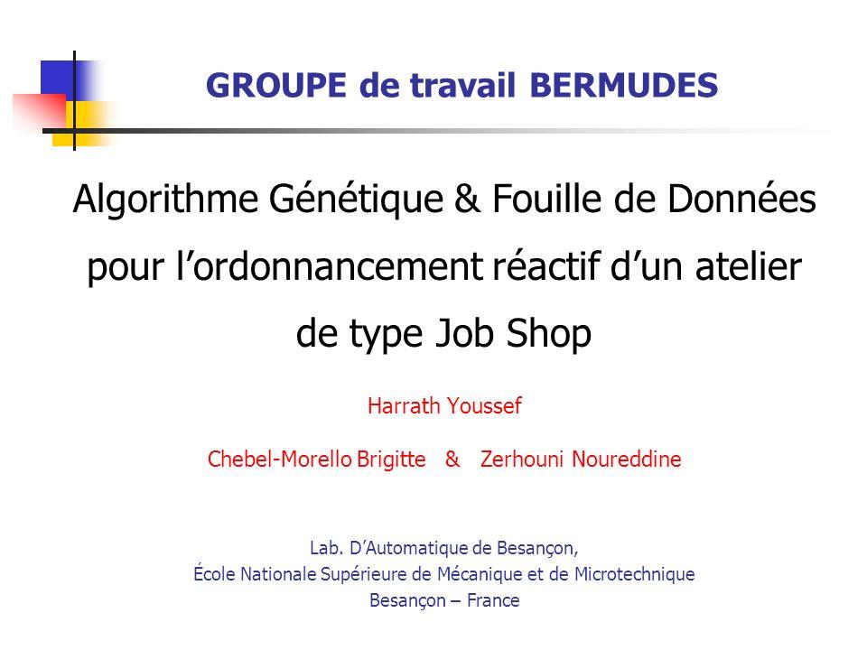 10 Bermudes - Paris le, 06 juin 2002 À partir des 106 individus (séquences), nous avons déterminé toutes les séquences possibles (ordonnancements effectifs) : 22 en total 465415246333M6 166536455323M5 562614446232M4 664351221131M3 351352614121M2 552564344212M1 OrdresMachines Résultats expérimentaux Plan 1.Job Shop 1.1.