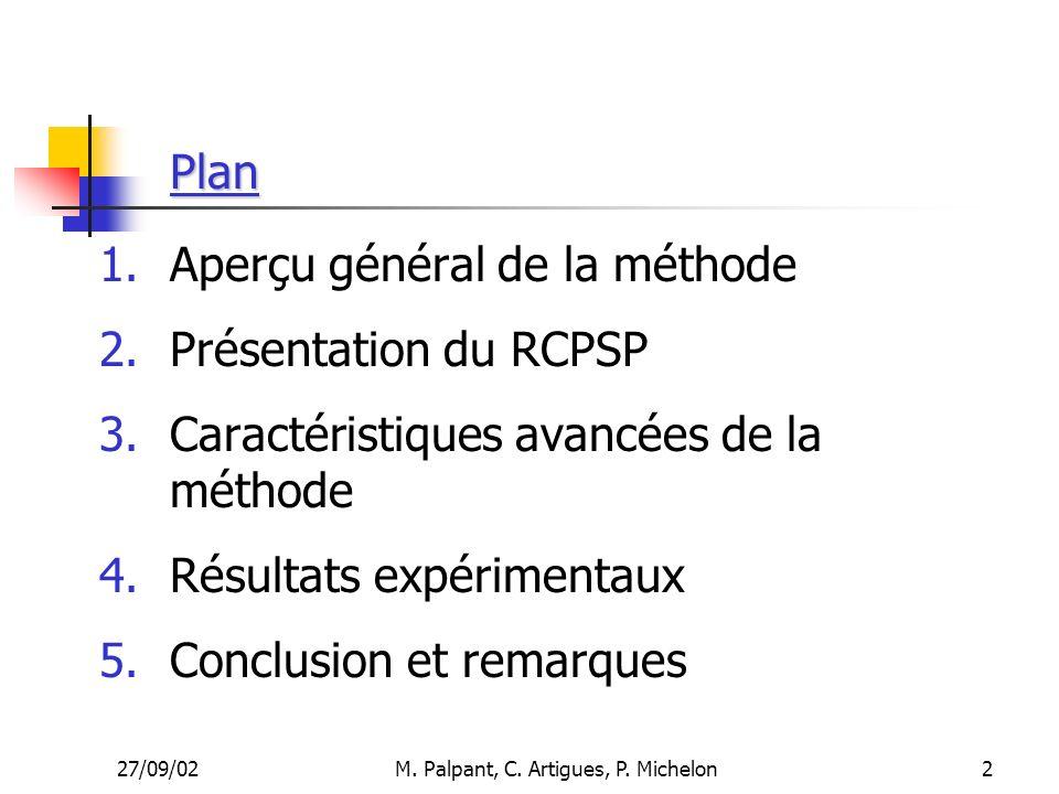 27/09/02M. Palpant, C. Artigues, P. Michelon Plan 1.Aperçu général de la méthode 2.Présentation du RCPSP 3.Caractéristiques avancées de la méthode 4.R