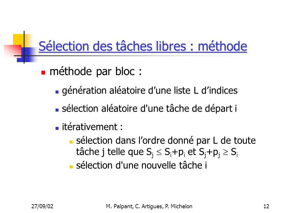 27/09/02M. Palpant, C. Artigues, P. Michelon Sélection des tâches libres : méthode méthode par bloc : génération aléatoire dune liste L dindices sélec