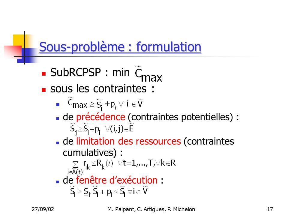 27/09/02M. Palpant, C. Artigues, P. Michelon Sous-problème : formulation SubRCPSP : min sous les contraintes : +p i i de précédence (contraintes poten