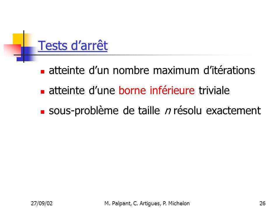 27/09/02M. Palpant, C. Artigues, P. Michelon Tests darrêt atteinte dun nombre maximum ditérations atteinte dune borne inférieure triviale sous-problèm