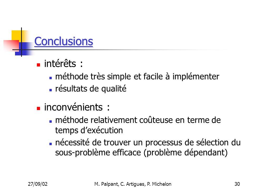 27/09/02M. Palpant, C. Artigues, P. Michelon Conclusions intérêts : méthode très simple et facile à implémenter résultats de qualité inconvénients : m
