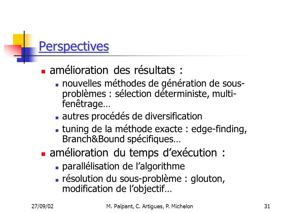 27/09/02M. Palpant, C. Artigues, P. Michelon Perspectives amélioration des résultats : nouvelles méthodes de génération de sous- problèmes : sélection