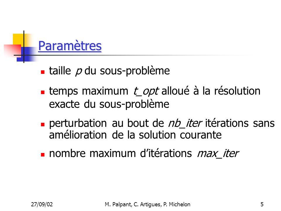 27/09/02M. Palpant, C. Artigues, P. Michelon Paramètres taille p du sous-problème temps maximum t_opt alloué à la résolution exacte du sous-problème p