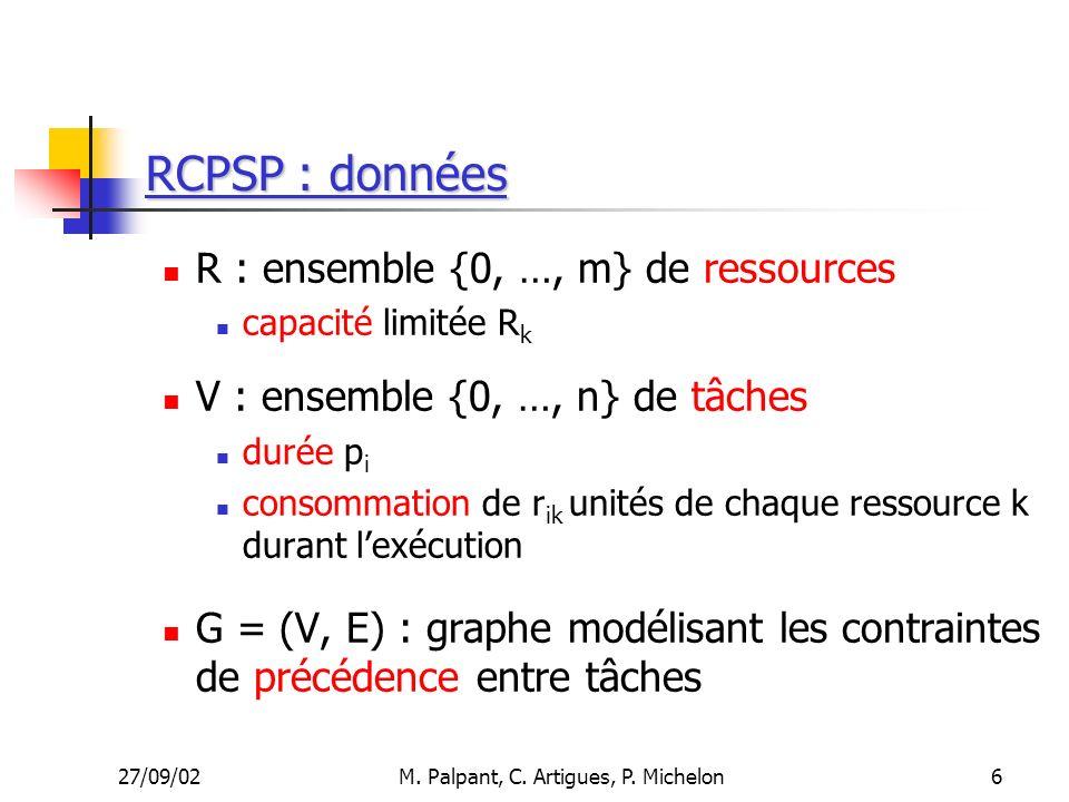 27/09/02M. Palpant, C. Artigues, P. Michelon RCPSP : données R : ensemble {0, …, m} de ressources capacité limitée R k V : ensemble {0, …, n} de tâche