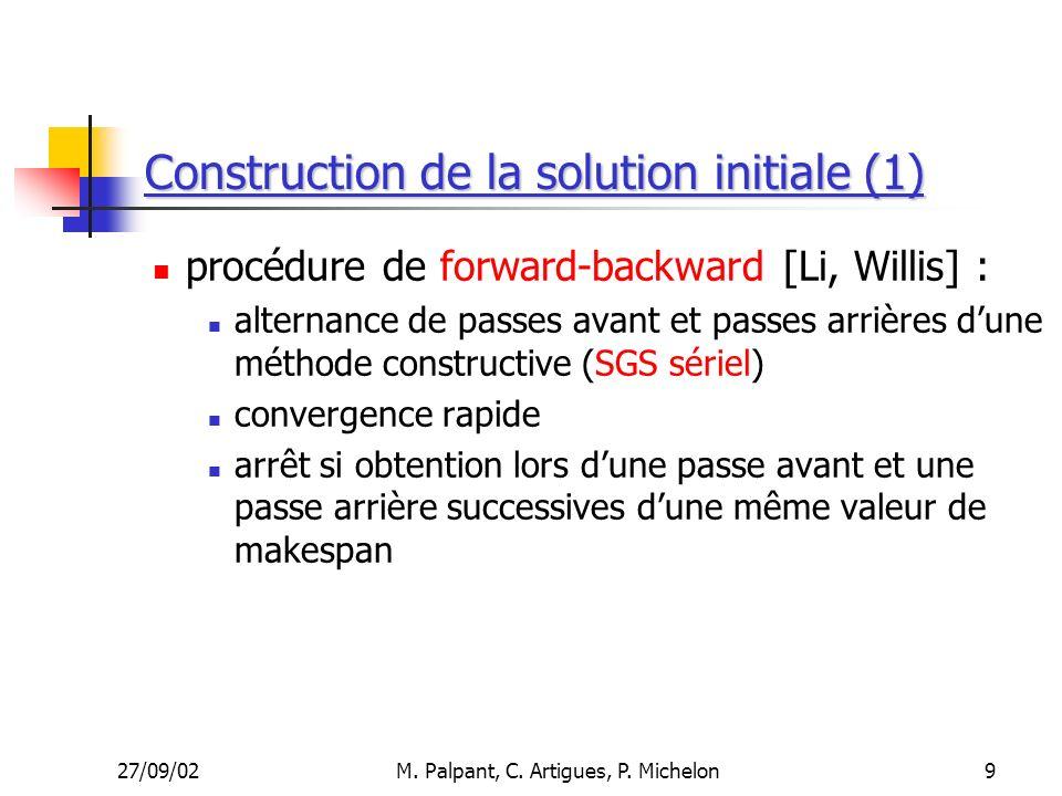 27/09/02M. Palpant, C. Artigues, P. Michelon Construction de la solution initiale (1) procédure de forward-backward [Li, Willis] : alternance de passe