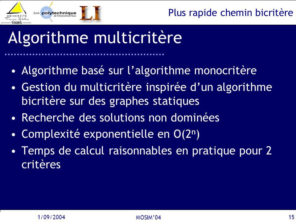 Plus rapide chemin bicritère 1/09/2004 MOSIM04 15 Algorithme multicritère Algorithme basé sur lalgorithme monocritère Gestion du multicritère inspirée