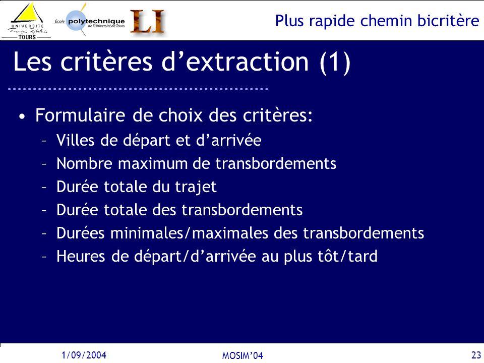 Plus rapide chemin bicritère 1/09/2004 MOSIM04 23 Les critères dextraction (1) Formulaire de choix des critères: –Villes de départ et darrivée –Nombre