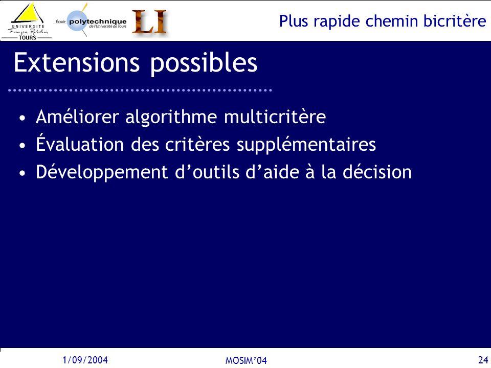 Plus rapide chemin bicritère 1/09/2004 MOSIM04 24 Extensions possibles Améliorer algorithme multicritère Évaluation des critères supplémentaires Dével