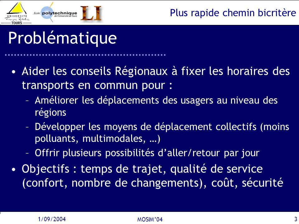 Plus rapide chemin bicritère 1/09/2004 MOSIM04 3 Problématique Aider les conseils Régionaux à fixer les horaires des transports en commun pour : –Amél
