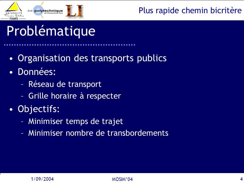 Plus rapide chemin bicritère 1/09/2004 MOSIM04 4 Problématique Organisation des transports publics Données: –Réseau de transport –Grille horaire à res