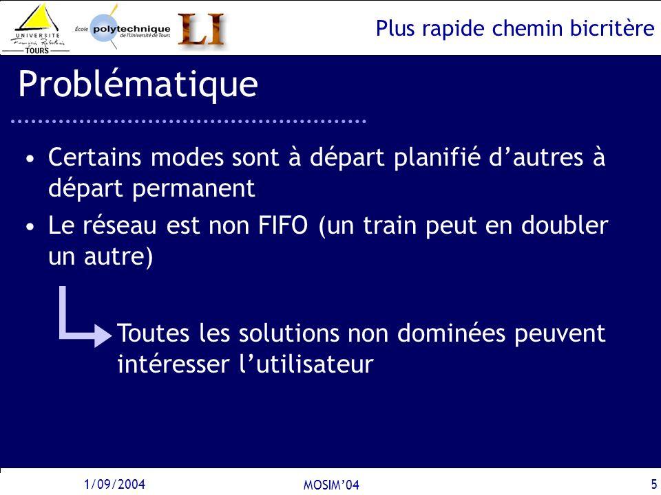 Plus rapide chemin bicritère 1/09/2004 MOSIM04 5 Problématique Certains modes sont à départ planifié dautres à départ permanent Le réseau est non FIFO