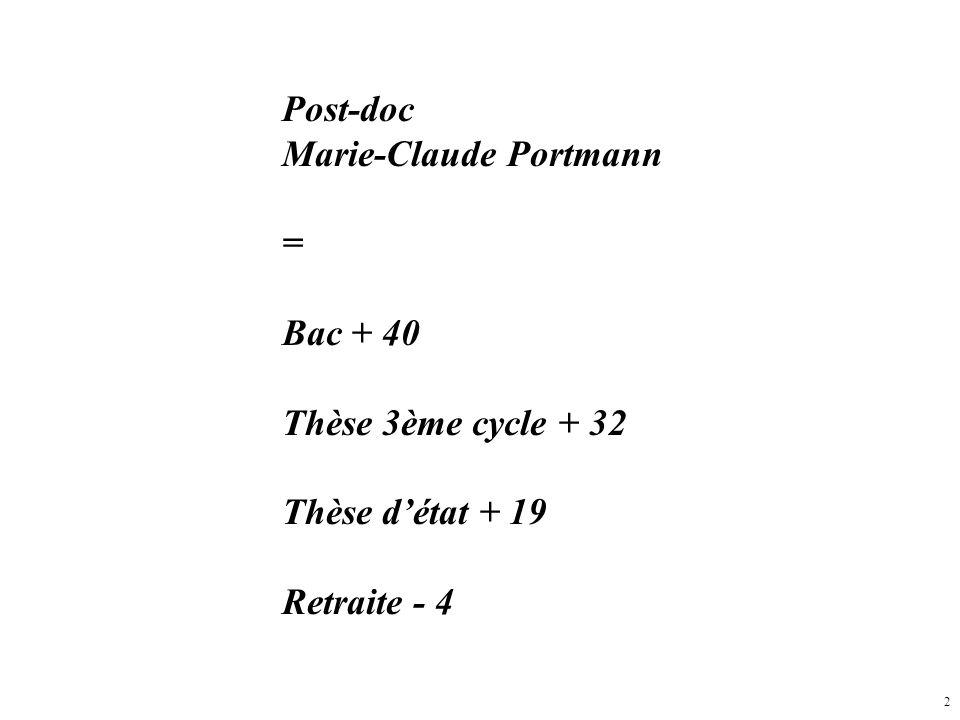 2 Post-doc Marie-Claude Portmann = Bac + 40 Thèse 3ème cycle + 32 Thèse détat + 19 Retraite - 4