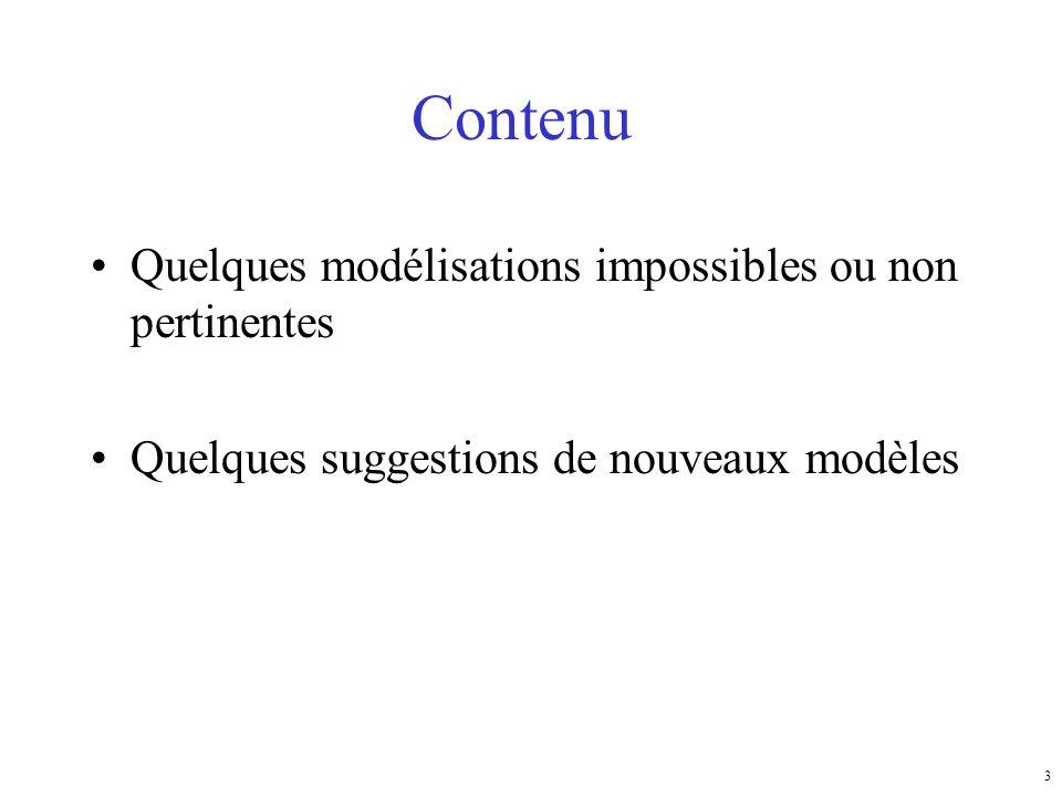 3 Contenu Quelques modélisations impossibles ou non pertinentes Quelques suggestions de nouveaux modèles
