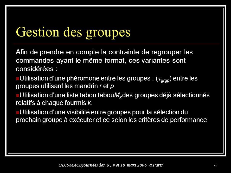 18 Gestion des groupes Afin de prendre en compte la contrainte de regrouper les commandes ayant le même format, ces variantes sont considérées : Utili