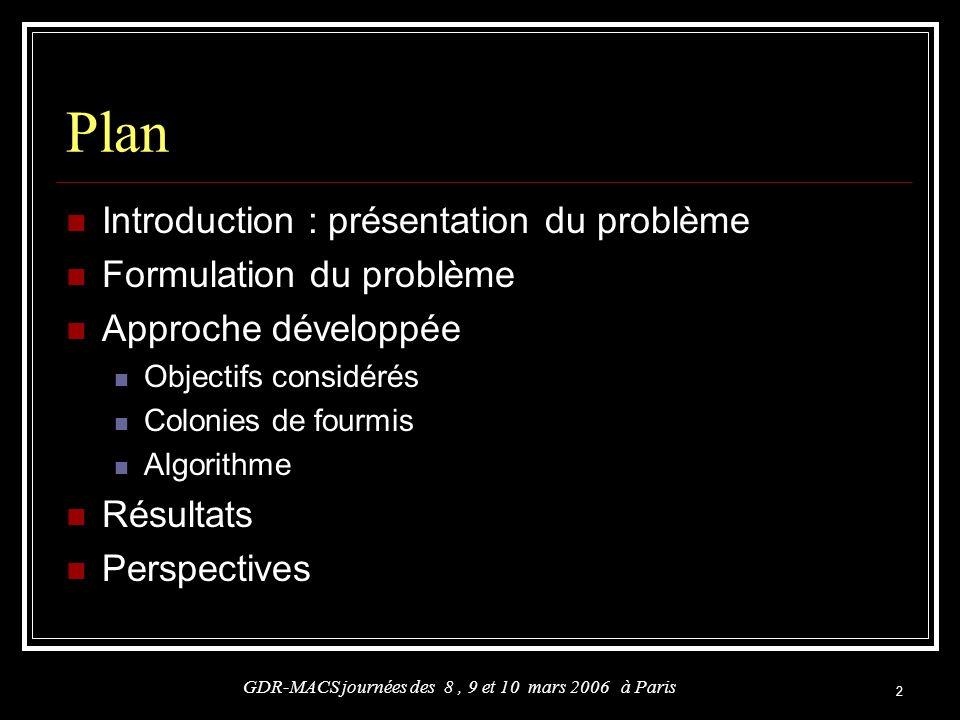 2 Plan Introduction : présentation du problème Formulation du problème Approche développée Objectifs considérés Colonies de fourmis Algorithme Résulta