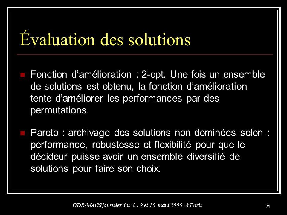 21 Évaluation des solutions Fonction damélioration : 2-opt. Une fois un ensemble de solutions est obtenu, la fonction damélioration tente daméliorer l