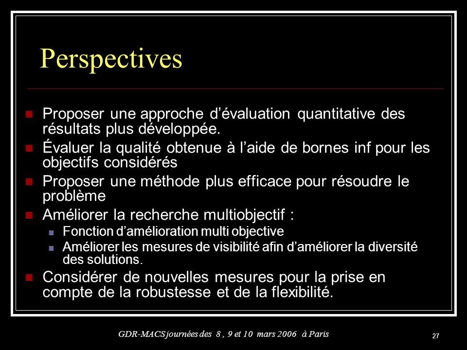 27 Proposer une approche dévaluation quantitative des résultats plus développée. Évaluer la qualité obtenue à laide de bornes inf pour les objectifs c