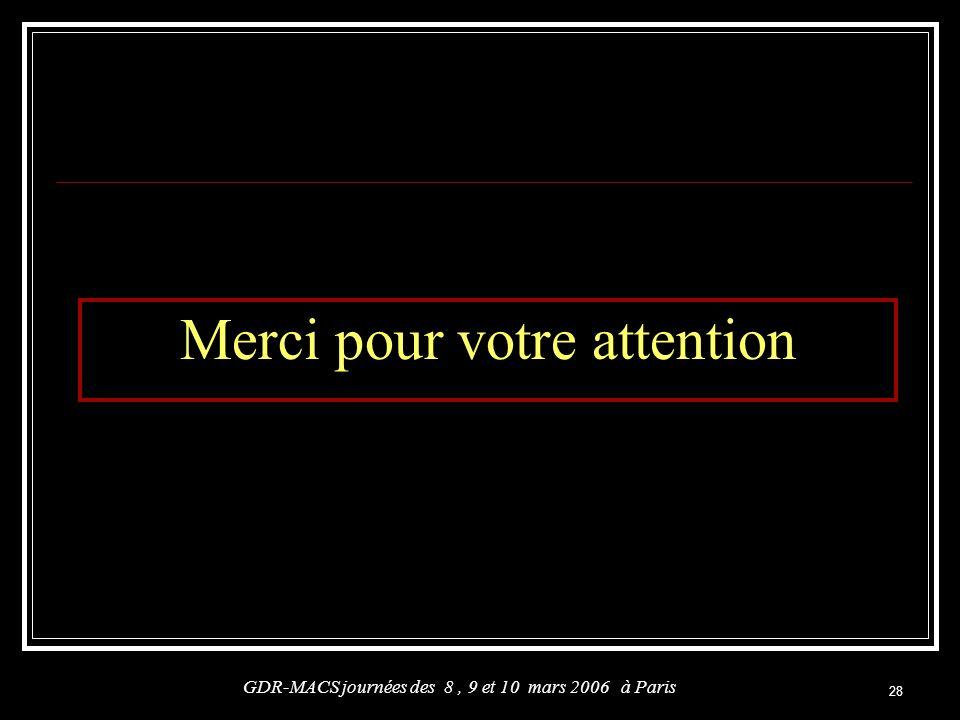 28 Merci pour votre attention GDR-MACS journées des 8, 9 et 10 mars 2006 à Paris
