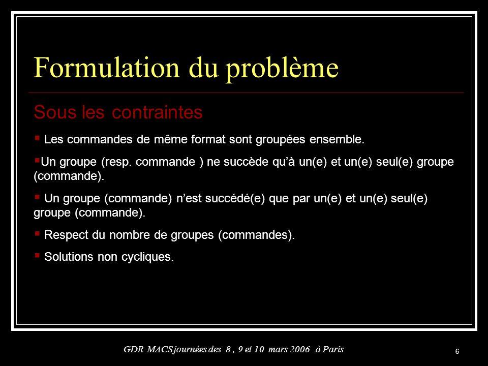 6 Formulation du problème Sous les contraintes GDR-MACS journées des 8, 9 et 10 mars 2006 à Paris Les commandes de même format sont groupées ensemble.