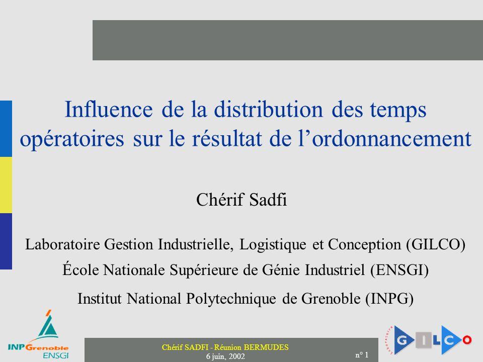 Chérif SADFI - Réunion BERMUDES 6 juin, 2002 n° 1 Influence de la distribution des temps opératoires sur le résultat de lordonnancement Chérif Sadfi L