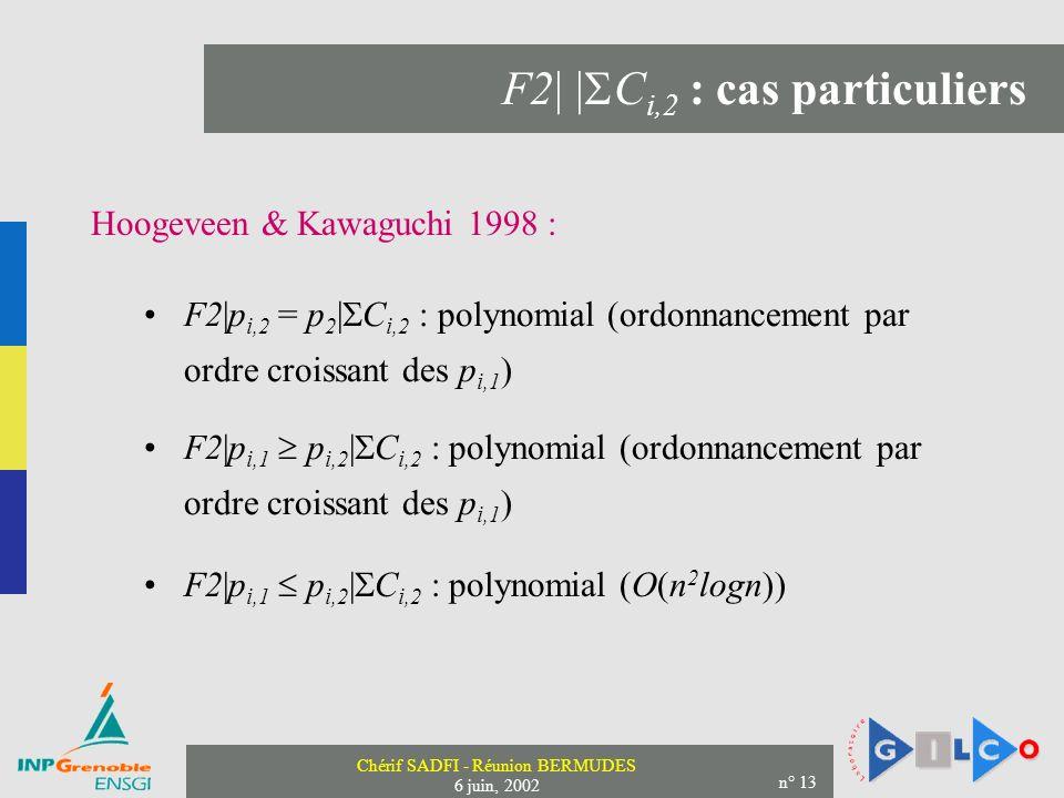 Chérif SADFI - Réunion BERMUDES 6 juin, 2002 n° 13 F2| | C i,2 : cas particuliers Hoogeveen & Kawaguchi 1998 : F2|p i,2 = p 2 | C i,2 : polynomial (ordonnancement par ordre croissant des p i,1 ) F2|p i,1 p i,2 | C i,2 : polynomial (ordonnancement par ordre croissant des p i,1 ) F2|p i,1 p i,2 | C i,2 : polynomial (O(n 2 logn))