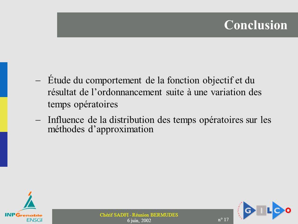 Chérif SADFI - Réunion BERMUDES 6 juin, 2002 n° 17 Conclusion Étude du comportement de la fonction objectif et du résultat de lordonnancement suite à une variation des temps opératoires Influence de la distribution des temps opératoires sur les méthodes dapproximation